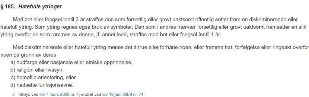 Ytringsfriheten er ikke absolutt i Norge                         1 1024x324
